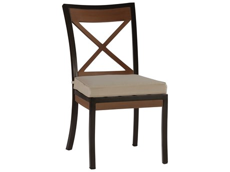 Summer Classics Belize Aluminum Mahogany Dining Arm Chair with Cushion