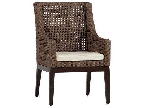 Summer Classics Peninsula Wicker Mahogany Chestnut Dining Arm Chair with Cushion