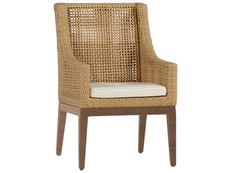Summer Classics Peninsula Wicker Raffia Sandalwood Dining Arm Chair with Cushion