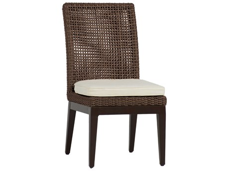 Summer Classics Peninsula Wicker Mahogany Chestnut Dining Chair with Cushion