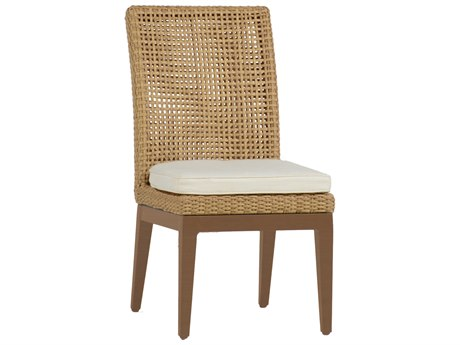 Summer Classics Peninsula Wicker Raffia Sandalwood Dining Chair with Cushion