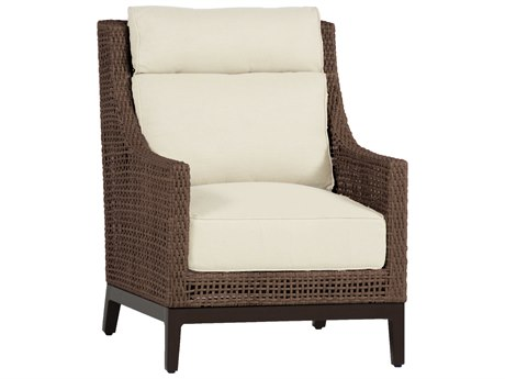 Summer Classics Peninsula Wicker Mahogany Chestnut Lounge Chair with Cushion