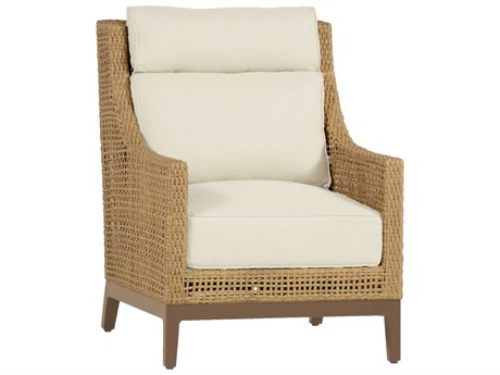 Summer Classics Peninsula Wicker Raffia Sandalwood Lounge Chair with Cushion