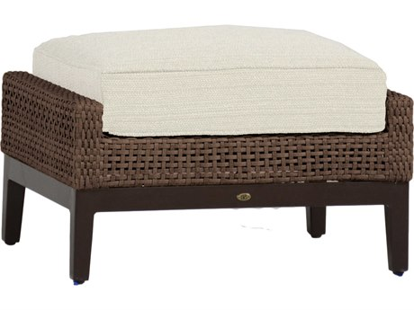 Summer Classics Peninsula Wicker Mahogany Chestnut Ottoman with Cushion