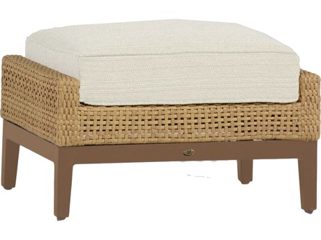 Summer Classics Peninsula Wicker Raffia Sandalwood Ottoman with Cushion