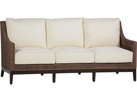 Summer Classics Peninsula Wicker Mahogany Chestnut Sofa with Cushion