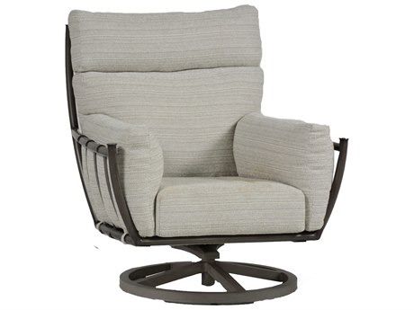 Summer Classics Majorca Aluminum Slate Grey Swivel Lounge Chair with Cushion