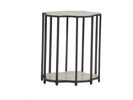 Summer Classics Clarice Faux Stone Travertine & Slate Grey 22'' Wide Round End Table