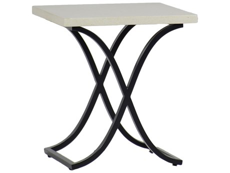 Summer Classics Marco Stone Aluminum Travertine & Ebony 20'' Wide Square End Table
