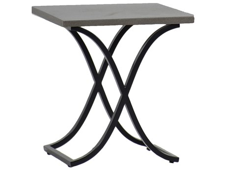 Summer Classics Marco Stone Aluminum Slate Grey & Ebony 20'' Wide Square End Table