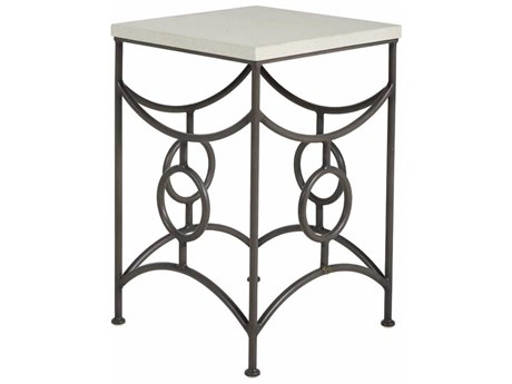 Summer Classics Trestle Wrought Iron 20.25''Wide Square Superstone Top End Table