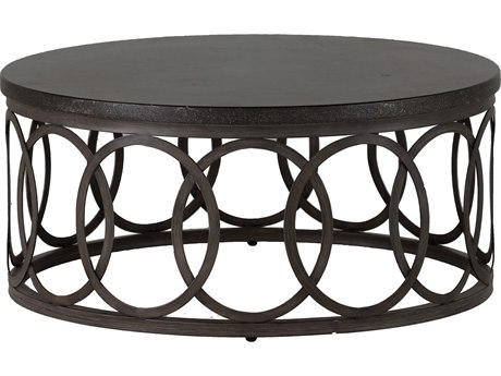 Summer Classics Ella Aluminum Black Walnut & Charcoal 42'' Wide Round Coffee Table