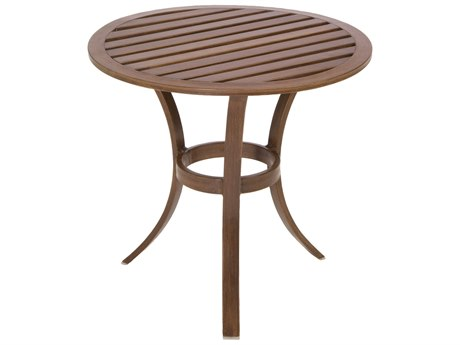 Summer Classics Cottage Aluminum Mahogany 21'' Wide Round Occasional End Table