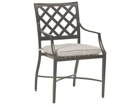 Summer Classics Lattice Slate Gray Cast Aluminum Dining Arm Chair