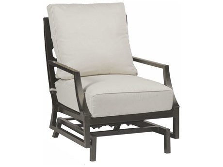 Summer Classics Lattice Aluminum Slate Grey Spring Lounge Chair with Cushion