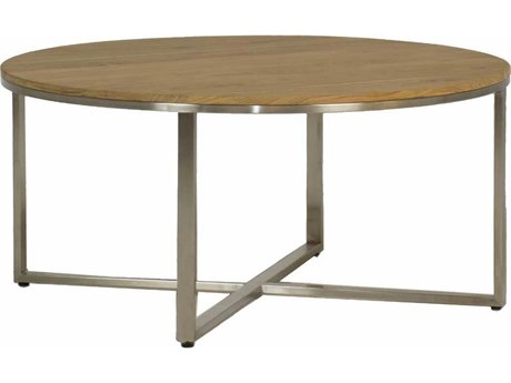 Summer Classics Bradley Natural Teak & Stainless Steel 36'' Wide Round Coffee Table SUM510044