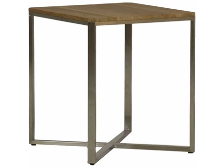 Summer Classics Bradley Natural Teak & Stainless Steel 20'' Wide Square End Table