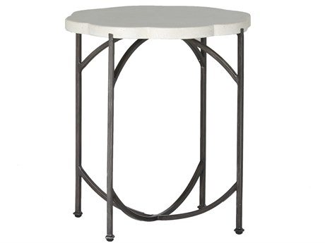 Summer Classics Gillian Travertine & Charcoal 20'' Wide Round End Table
