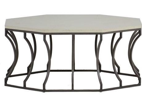 Summer Classics Audrey Faux Stone Travertine & Charcoal 39'' Wide Hexagon Coffee Table