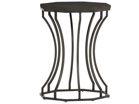 Summer Classics Audrey Faux Stone Black Walnut & Charcoal 20'' Wide Hexagon End Table