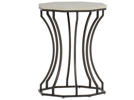 Summer Classics Audrey Faux Stone Travertine & Charcoal 20'' Wide Hexagon End Table