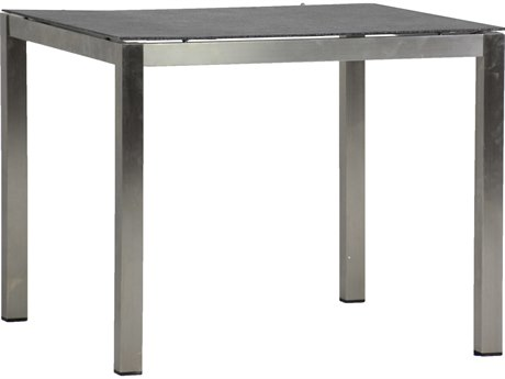 Summer Classics Cirrus Faux Stone Charcoal & Stainless Steel 36'' Wide Square Dining Table SUM687440