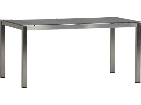 Summer Classics Cirrus Faux Stone Charcoal & Stainless Steel 17''W x 14''D Rectangular Dining Table SUM687540