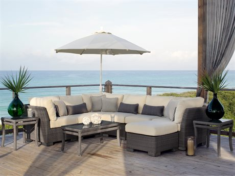 Summer Classics Club Woven Wicker Slate Grey Sectional Lounge Set