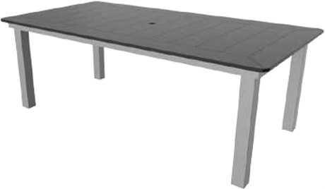 Suncoast Marine Grade Polymer Aluminum 70 x 42 Rectangular Dining Table with Umbrella Hole