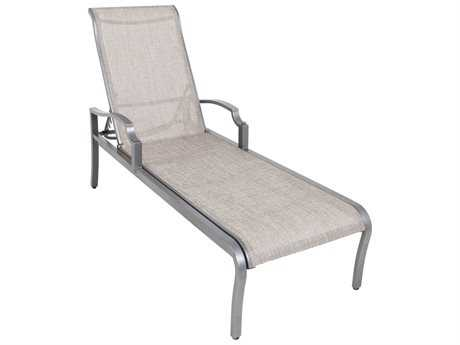 Sunvilla Aragon Sling Cast Aluminum Chaise Lounge in Pompass Brass