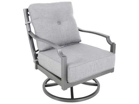 Sunvilla Aragon Cushion Cast Aluminum Swivel Lounge Chair in Frequency Ash