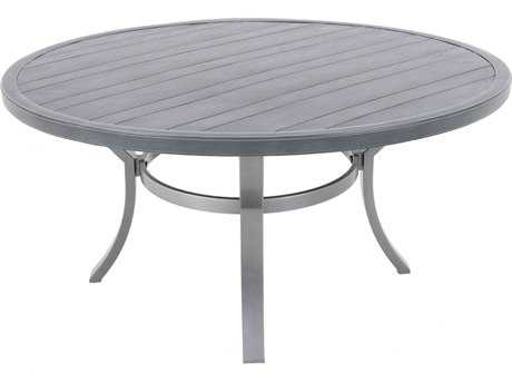 Sunvilla Embossed Wood Grain Slat Aluminum 54 Round Dining Table in Royal Pewter