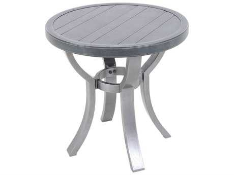 Sunvilla Embossed Wood Grain Slat Aluminum 24 Round End Table in Royal Pewter