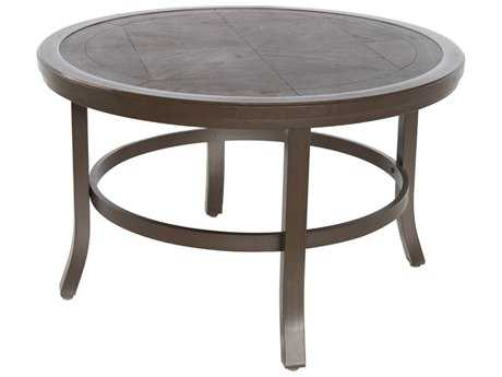 Sunvilla Fauxwood Aluminum 38 Round Coffee Table in Mahogany
