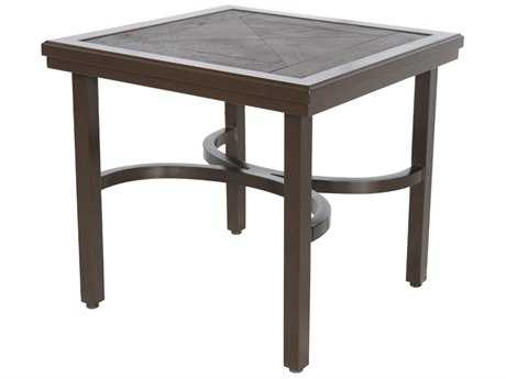 Sunvilla Fauxwood Aluminum 24 Square End Table in Mahogany