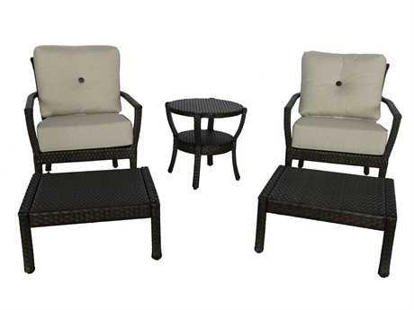 Sunvilla Elise Wicker Lounge Chair  & Ottoman in Cast Silver SUN17005081