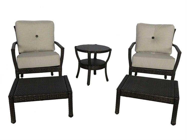 Sunvilla Elise Wicker Lounge Chair U0026 Ottoman In Cast Silver