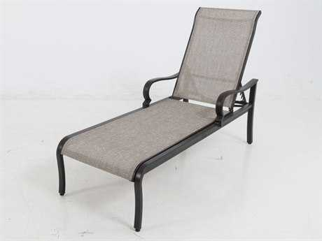 Sunvilla Laurel Sling Aluminum Chaise Stackable in Pompass Brass