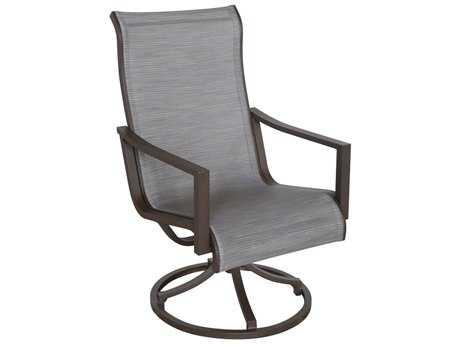 Sunvilla Allegro Sling Aluminum Swivel Dining Chair in Pria Tweed