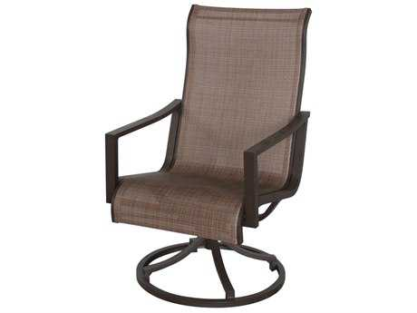 Sunvilla Allegro Sling Aluminum Swivel Dining Chair in Charm