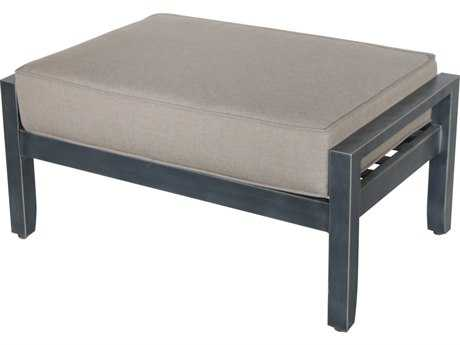 Sunvilla Belize Aluminum Wicker Ottoman in Cast Shale