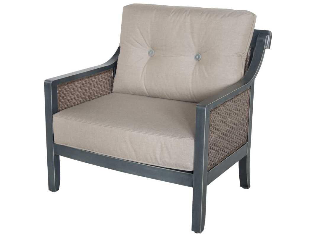 Sunvilla belize aluminum wicker cuddle chair in cast shale for Shale sofa bed