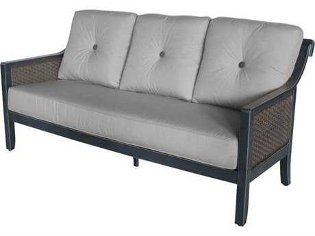 Sunvilla Belize Aluminum Wicker Sofa in Sailcloth Shadow (3 Piece Seat Cushion)