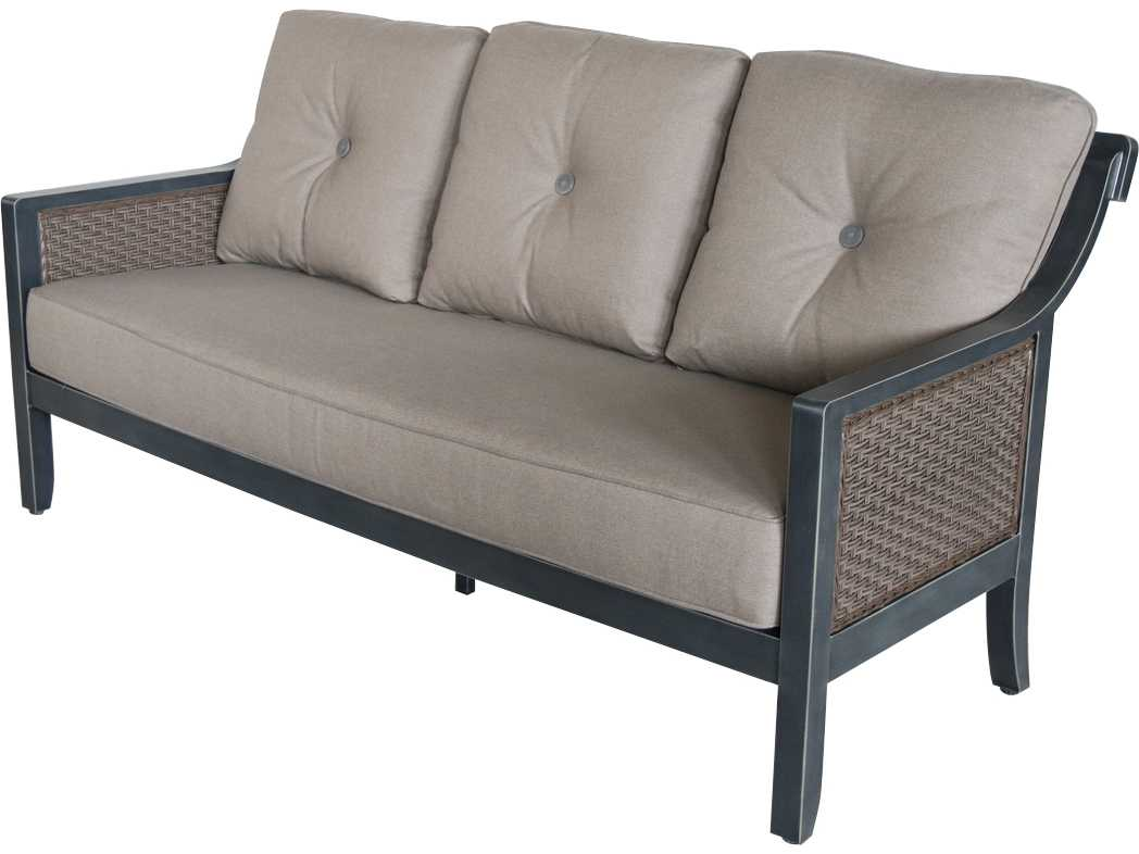 Sunvilla belize aluminum wicker sofa in cast shale 1 for Shale sofa bed