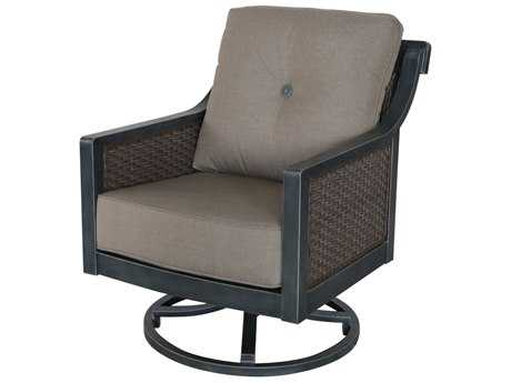 Sunvilla Belize Aluminum Wicker Swivel Lounge Chair in Cast Shale