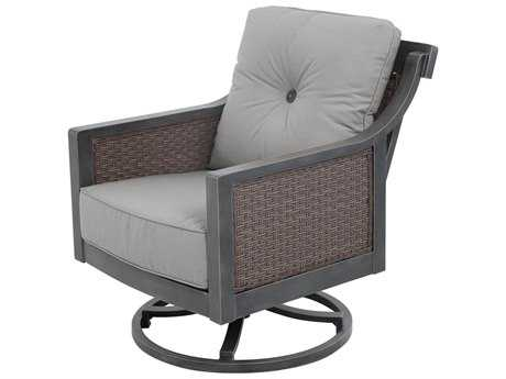 Sunvilla Belize Aluminum Wicker Swivel Lounge Chair in Sailcloth Shadow