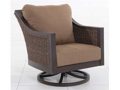 Sunvilla Biscay Aluminum Wicker Swivel Lounge Chair in Spectrum Caribou