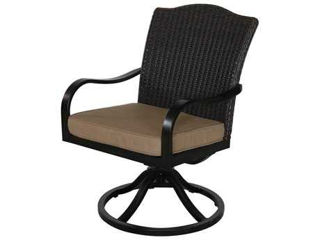 Sunvilla Indies Aluminum Wicker Swivel Dining Chair in Sailcloth Sisal (Sold in 2)
