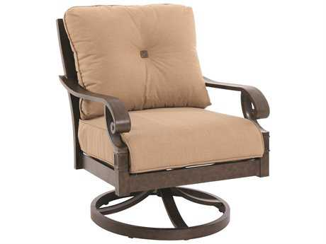Sunvilla Veritas Aluminum Spanish Gold Swivel Lounge Chair w/ Full Cushion (Sold in 2)