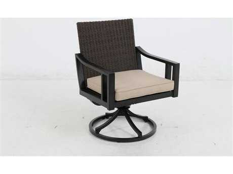 Sunvilla Pennant Aluminum Wicker Swivel Dining Chair in Flagship Stone